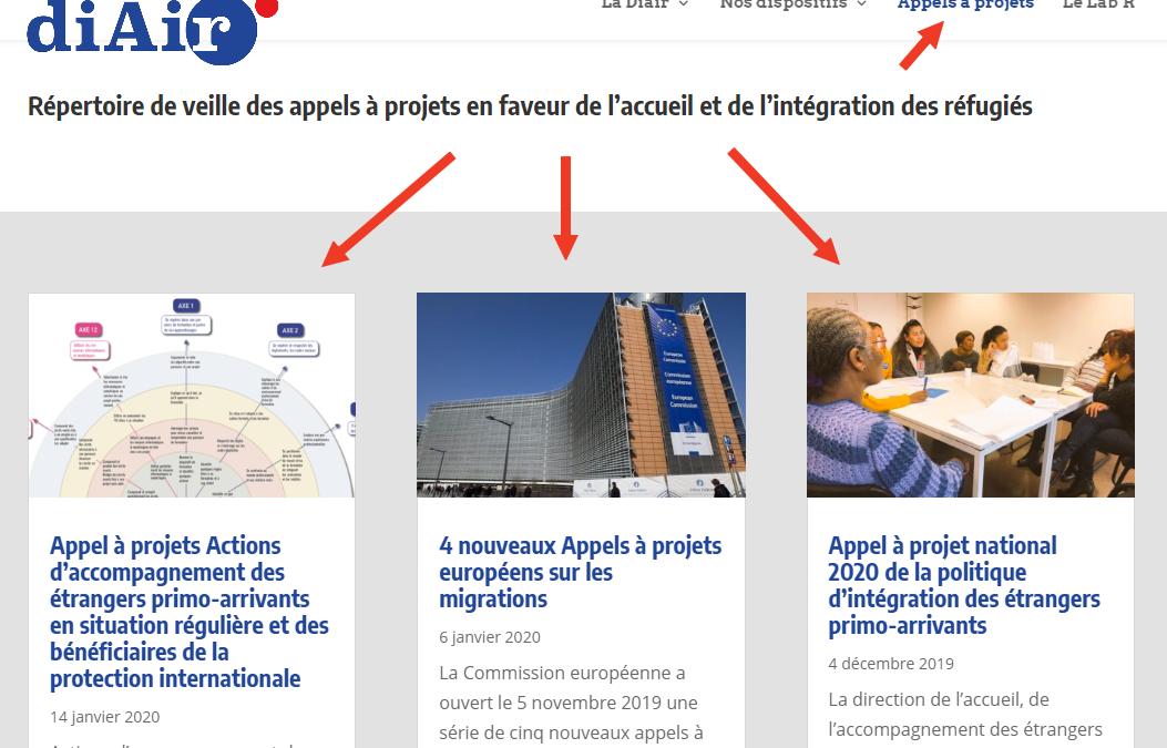 """Une section dédiée aux """"Appels à projets"""" est ouverte sur le site web de la Diair"""