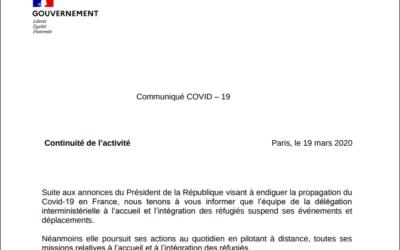 #Covid 19 – Continuité de l'activité de la délégation