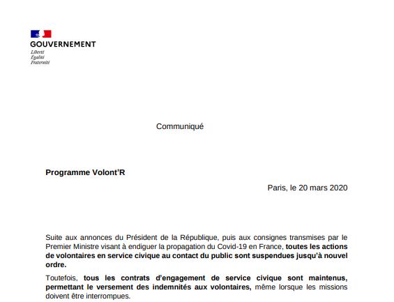 #COVID19 : communiqué Volont'R