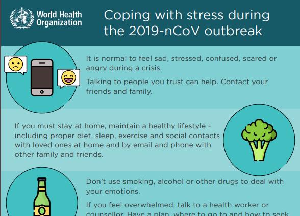#COVID19 : Campagne de communication de l'OMS en anglais pour la gestion du stress