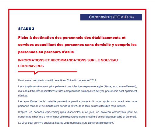 Stade 3 : information à destination des personnels des établissements et services accueillant des personnes sans domicile y compris les personnes en parcours d'asile