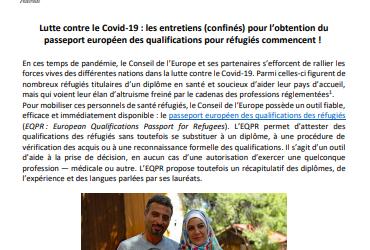 Mobilisation contre le covid-19 : le passeport européen des qualifications des réfugiés rejoint la lutte