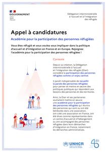 Appel à candidatures pour la participation des personnes réfugiées